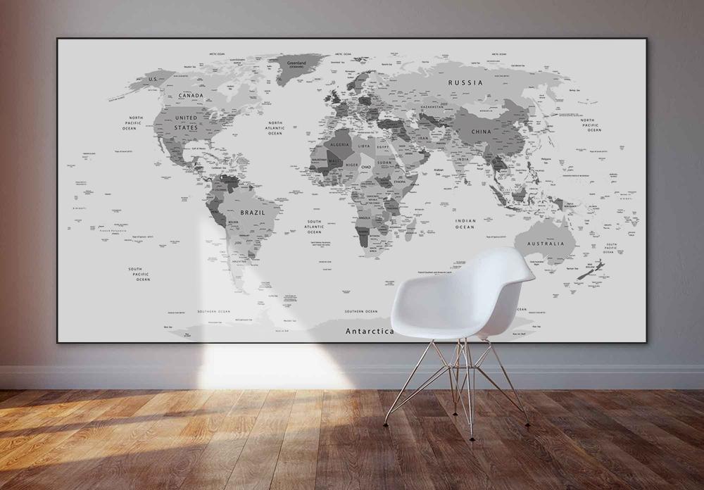 verdenskort sort hvid lærred