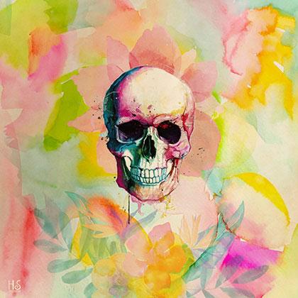 Image of   A Happy Skull af Helt Sort