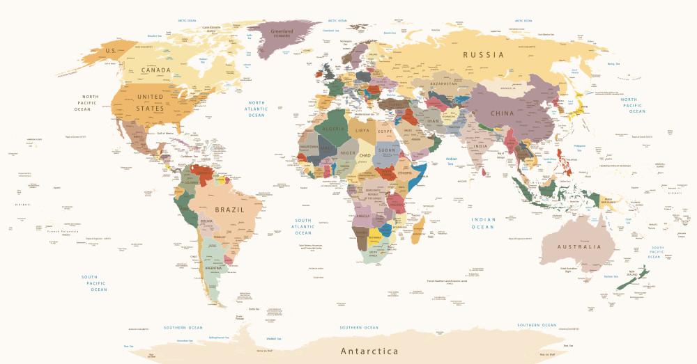verdenskort til væg med nåle