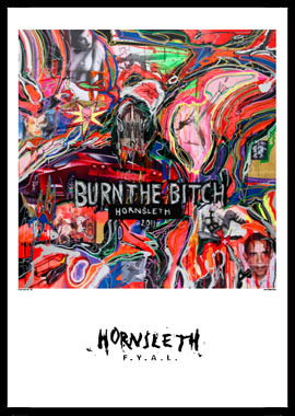 Image of   Burn the bitch af Hornsleth, Print i glas og ramme, 50x70 cm