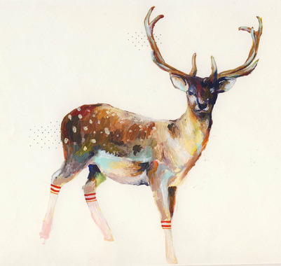 Image of   Deer in gym socks af Charmaine Olivia