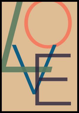 Image of LOVE af Alan Smithee, Print i glas og ramme, 50x70 cm