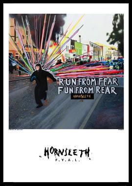 Run from fear af Hornsleth, Print i glas og ramme, 50×70 cm