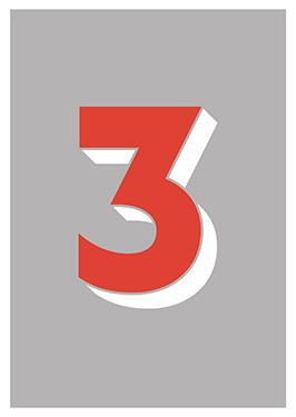 Image of   3 af Alan Smithee, Print i glas og ramme, 50x70 cm