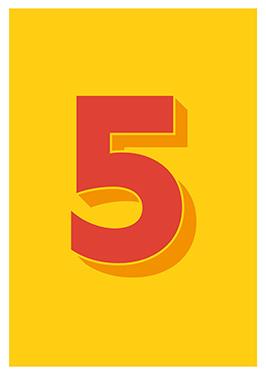 Image of   5 af Alan Smithee, Print i glas og ramme, 50x70 cm