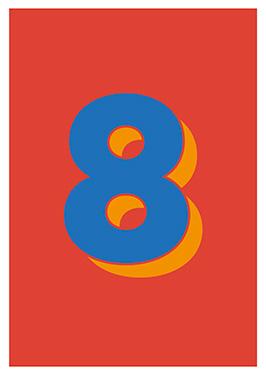 Image of   8 af Alan Smithee, Print i glas og ramme, 50x70 cm
