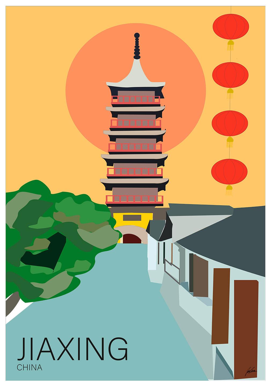 Billede af Jiaxing city af Justesen Plakater
