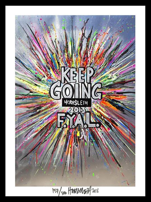 Image of   Keep going - signeret tapet af Hornsleth - signeret og nummereret