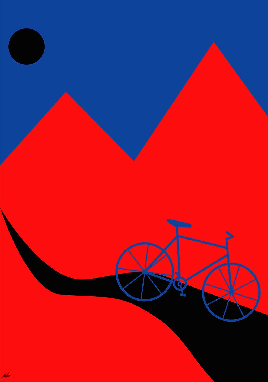 Billede af Mountainbike Blue af Justesen Plakater