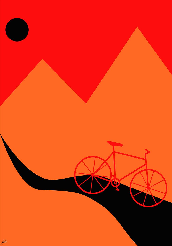 Billede af Mountainbike Orange af Justesen Plakater