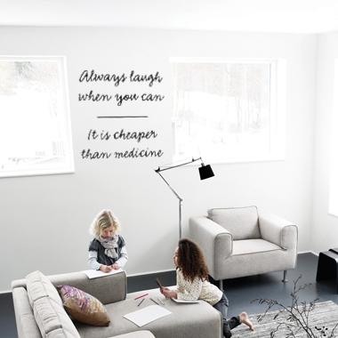 Image of Always laugh wallsticker af Alan Smithee, 50x50 cm