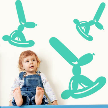 Image of   Balloon Bunnies wallsticker af Ane Marie Blæsbjerg, 70x56 cm