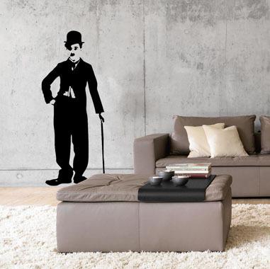 Image of   Charlie Chaplin wallsticker af Rikke Axelsen, 34x82 cm