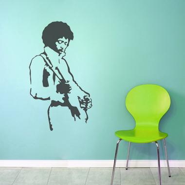Jimi Hendrix wallsticker af Jesper Haun, 42x70 cm