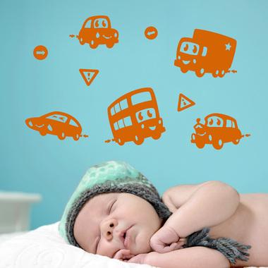 Image of   Søde biler wallsticker af Tobias Scheel Mikkelsen, 39x39 cm
