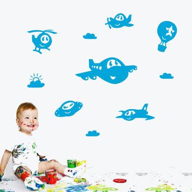 Image of   Søde flyvere wallsticker af Tobias Scheel Mikkelsen, 35x27 cm