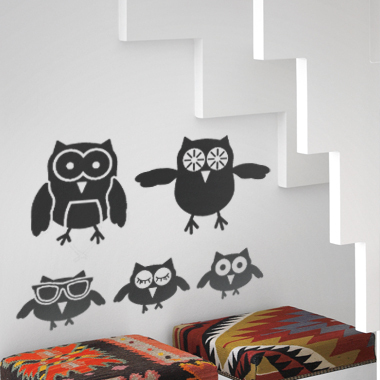 Image of The Owls wallsticker af Alan Smithee, 40x26 cm