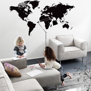 Verdenskort wallsticker af Anline Ruby, 80x40 cm